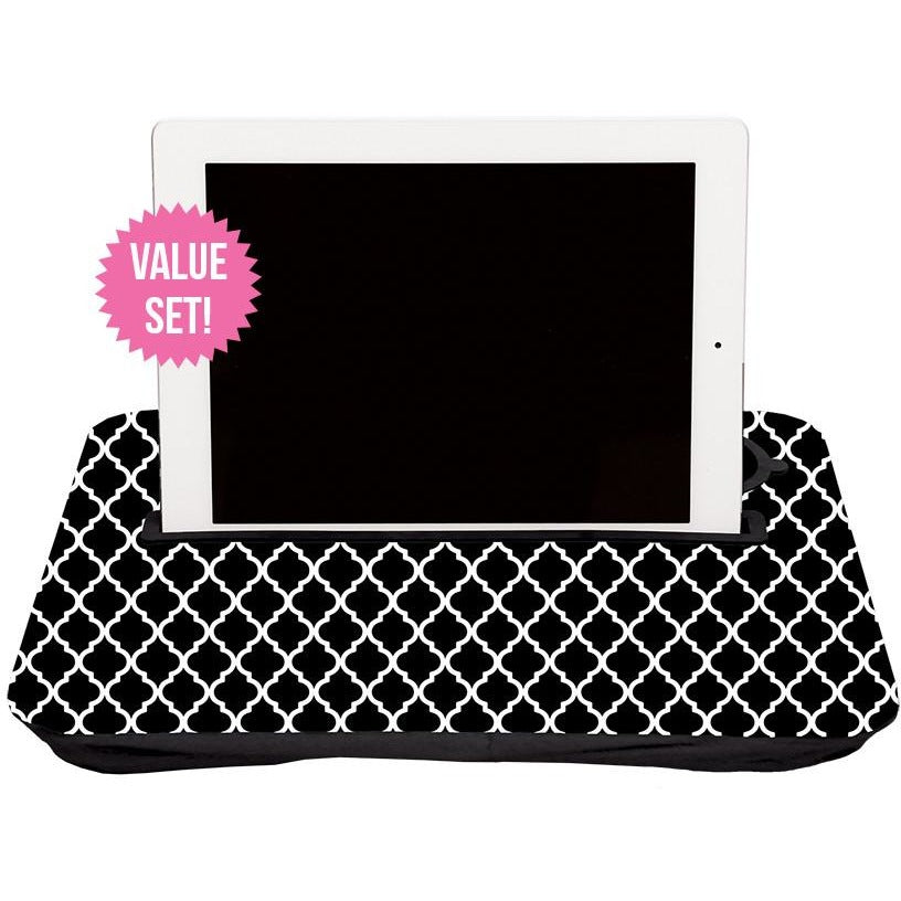 Geometric Black + White, and Solid Black Tablet Tray Set|Tech - Fashionit_inc