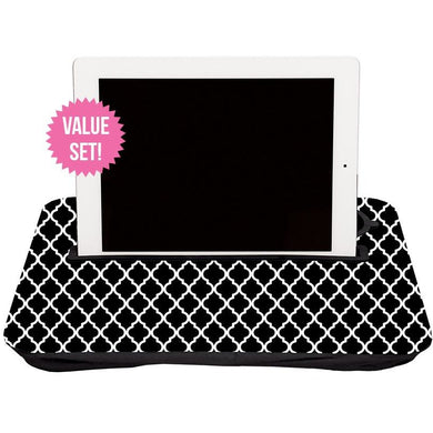 Tablet Tray Set Geometric Black + White, and Solid Black|Tech - Fashionit_inc