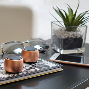 U PRO SPEAKERS ROSE GOLD - 2 PAIRED SPEAKERS WITH MAGNETIC BASE|Tech - Fashionit USpeakers