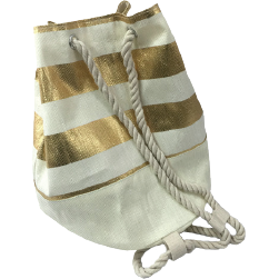 Metallic Gold Striped Eco-Friendly Bucket Bag