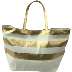 Metallic Gold Striped Eco Friendly Tote|Bags - Fashionit_inc