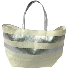 Metallic Silver Striped Eco-Friendly Tote|Bags - Fashionit_inc