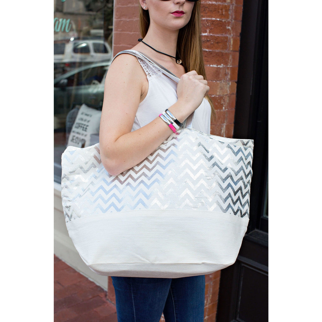 Fashionit Metallic Silver Chevron Eco-Friendly Tote