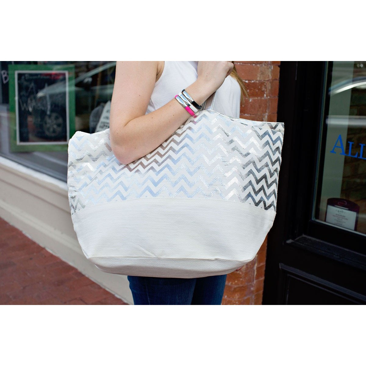 Metallic Silver Chevron Eco-Friendly Tote|Bags - Fashionit_inc
