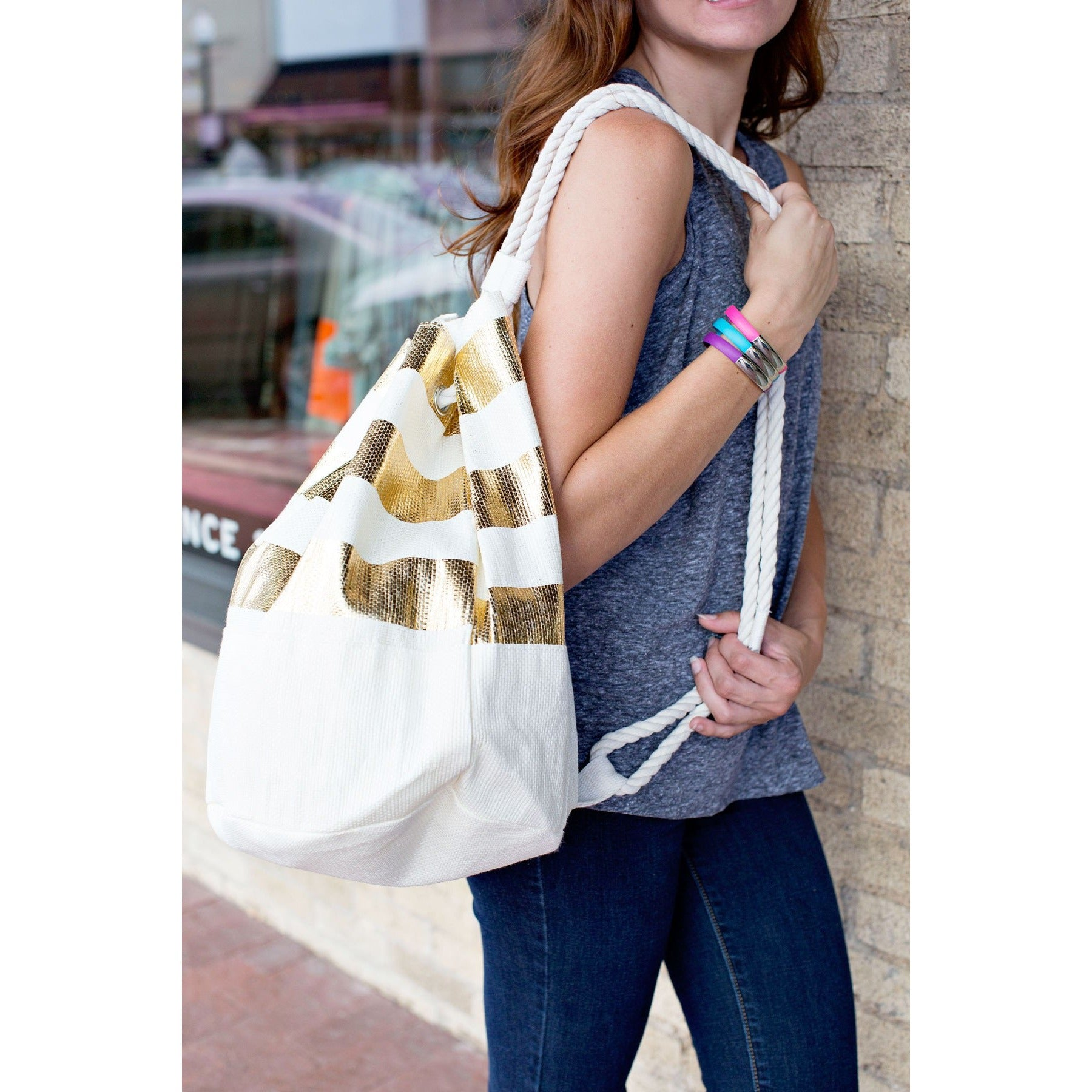 Metallic Gold Striped Eco-Friendly Bucket Bag|Bags - Fashionit_inc