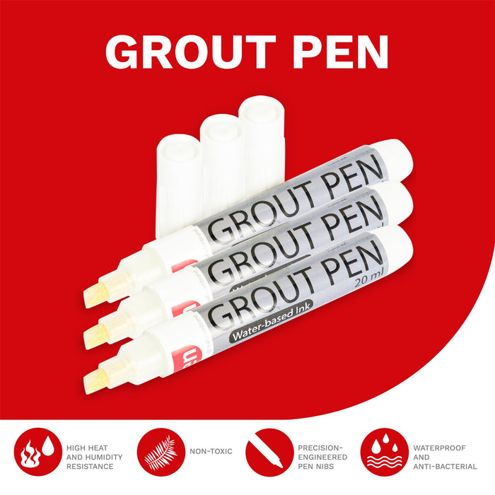 XFasten Tile Grout Pen, White, 20 ml (3-Pack) - XFasten