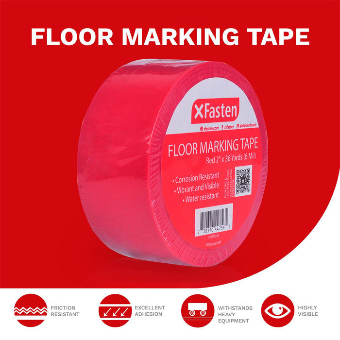 XFasten Floor Marking Vinyl Tape, 2 Inches x 36 Yards 6 Mils Thick