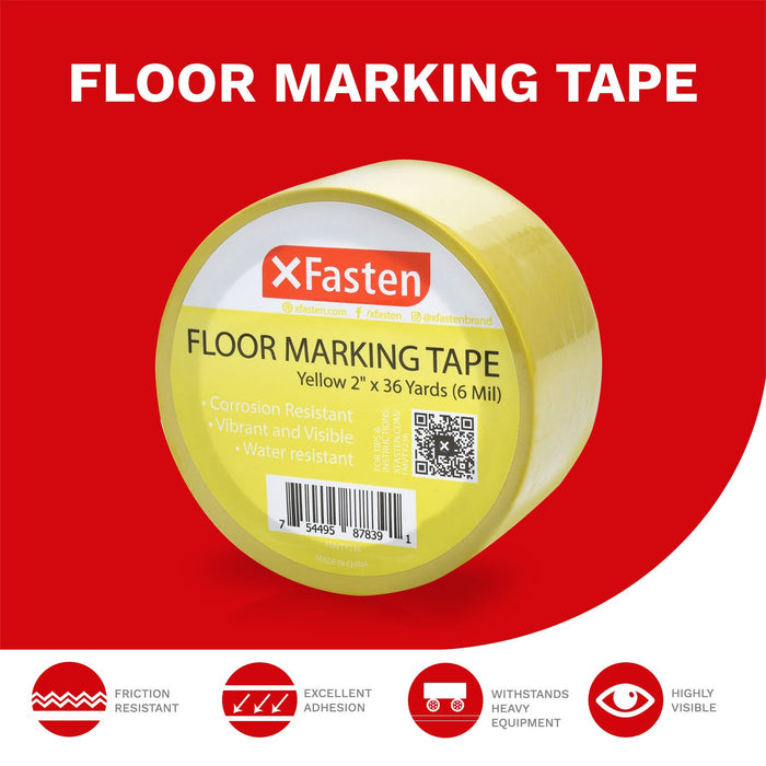 XFasten Floor Marking Vinyl Tape, Yellow, 2 Inches x 36 Yards 6 Mils Thick - XFasten