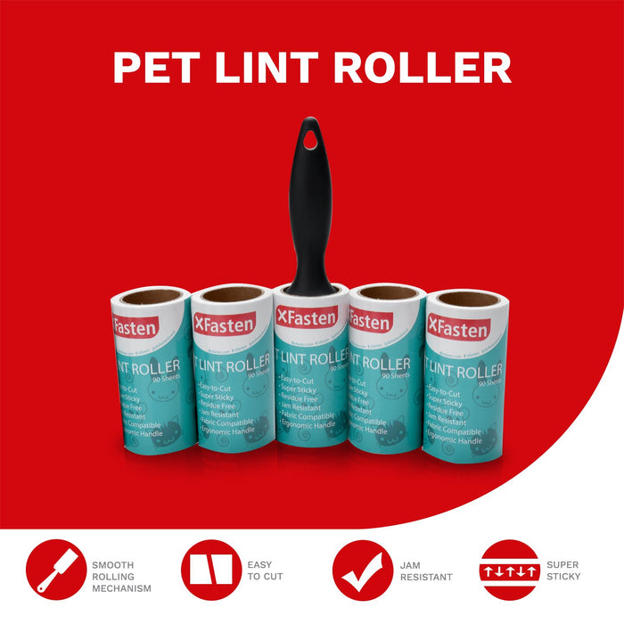 XFasten Pet Hair Lint Roller 1 Roller + 5 Refill Rolls (90 Sheets Each)