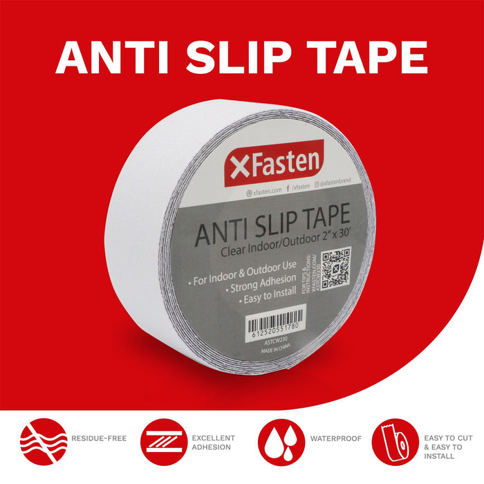 XFasten Anti Slip Tape Clear Non-abrasive, 2-Inch by 30-Foot - XFasten