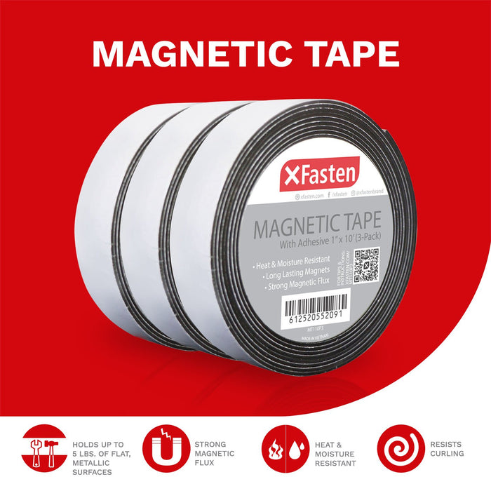 "XFasten Magnetic Tape 1""x10' Pack of 3 - XFasten"