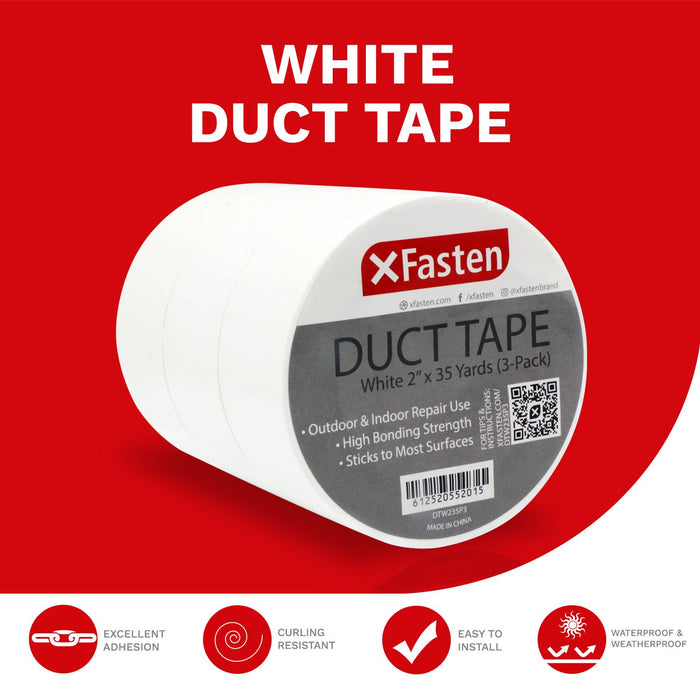 XFasten Duct Tape, White, 2-Inches x 35-Yards, Pack of 3