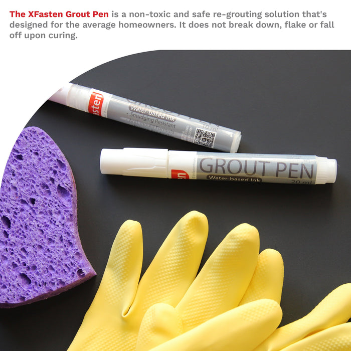 XFasten Tile Grout Pen, White, 20 ml (1-Pack) - XFasten