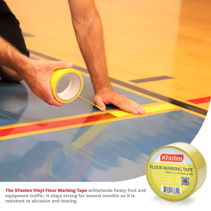 XFasten Floor Marking Vinyl Tape, Yellow, 2 Inches x 36 Yards 6 Mils Thick