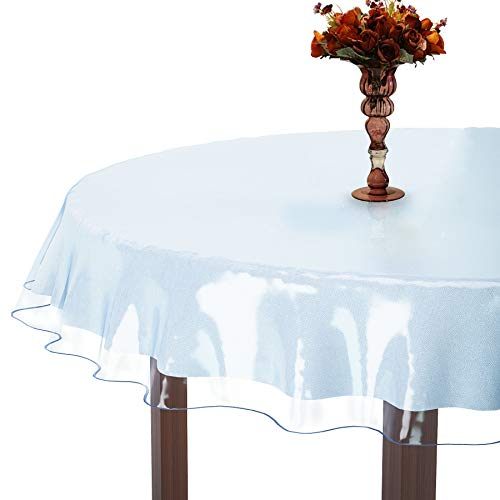 XFasten Heavy-Duty Clear Vinyl Round Table Cover Protector, 0.3 mm Thick, 70-Inch