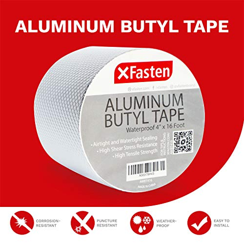 XFasten Super Waterproof Aluminum Butyl Tape, 4-Inch x 16-Foot