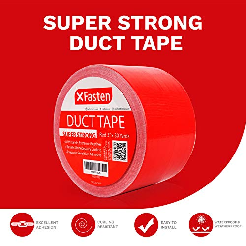 "XFasten Super Strength Duct Tape, Red, 3"" x 30 Yards, Indoor and Outdoor Duct Tape for School and Industrial Use- Waterproof and Weatherproof"