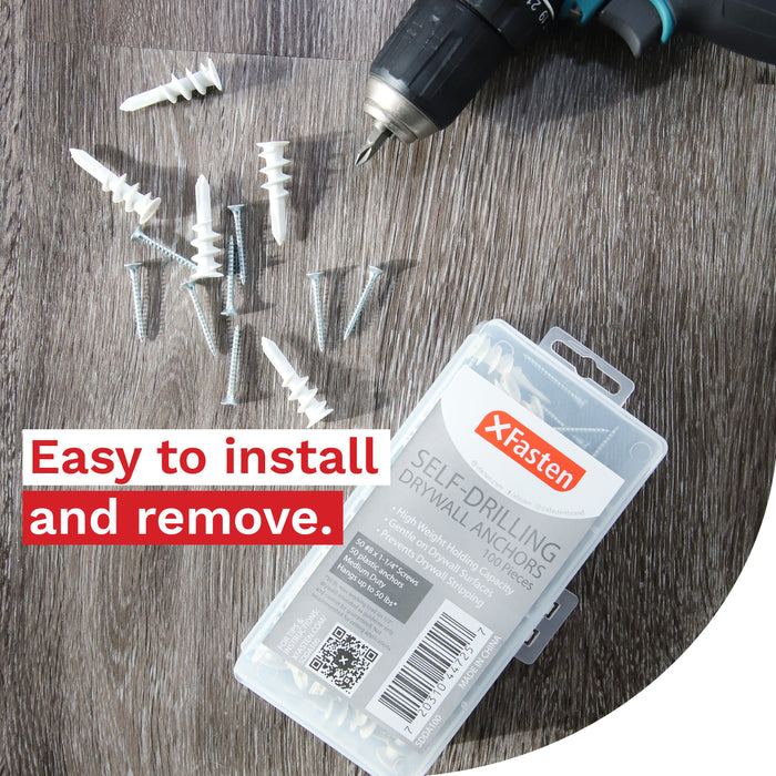 Self Drilling Drywall Plastic Anchors with Screws Kit