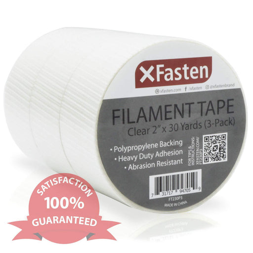 XFasten Duct Tape, Transparent, 2 Inches x 30 Yards (3-Pack)