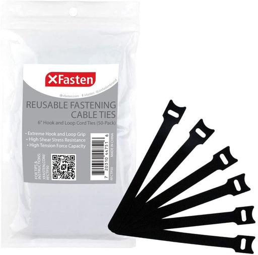 XFasten Cable Ties - 6 Inches Hook and Loop Fastening Zip Cord Ties Straps (50-Pack)
