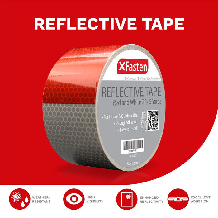 XFasten Reflective Tape, Red & White, 2 Inches by 5 Yards - XFasten