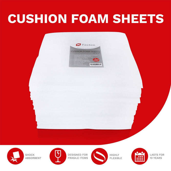XFasten Cushion Foam Sheets 12-Inch by 12-Inch, Pack of 50