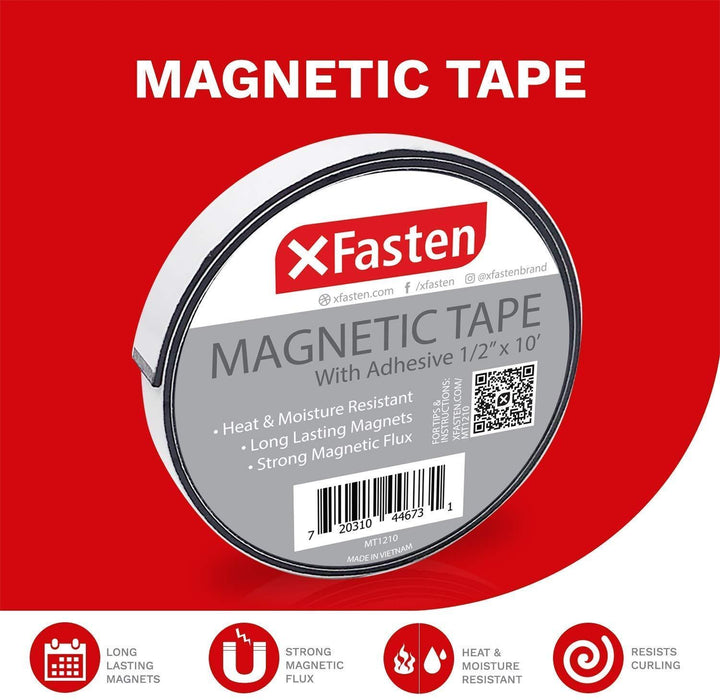 XFasten Magnetic Tape 1/2-Inch x 10-Foot