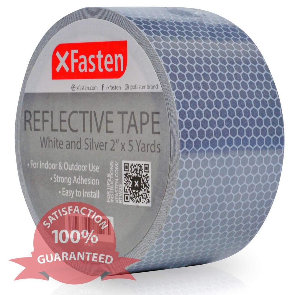 XFasten Reflective Tape, White and Silver, 2 Inches by 5 Yards