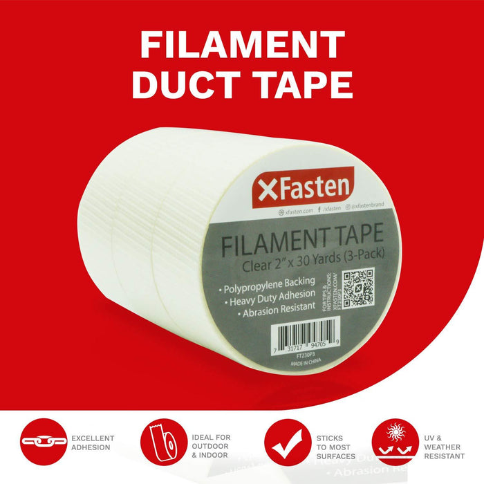 XFasten Filament Duct Tape, Transparent, 2 Inches x 30 Yards (3-Pack)