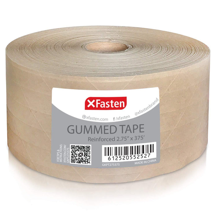 XFasten Gummed Tape, 2.75 Inches x 375 Feet - XFasten