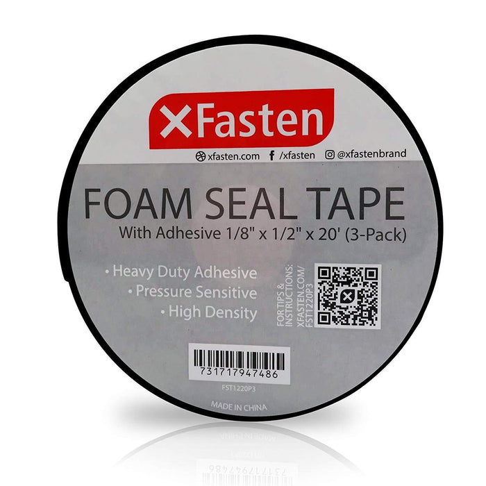 "XFasten Black Foam Seal Tape, 1/8""Thick 1/2-Inch x 20-Foot (3-Pack)"