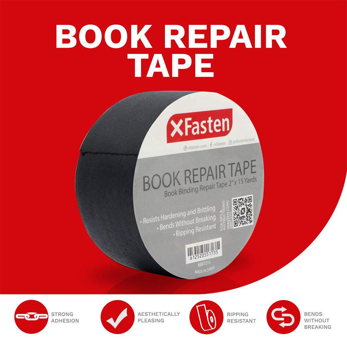 XFasten Book Binding Repair Tape, Black, 2-Inch by 15-Yard - XFasten