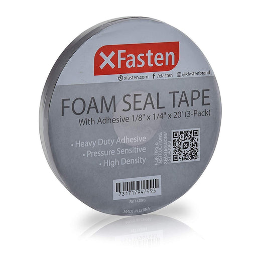 "XFasten Black Foam Seal Tape, 1/8""Thick, 1/4-Inch x 20-Foot (3-Pack) - XFasten"