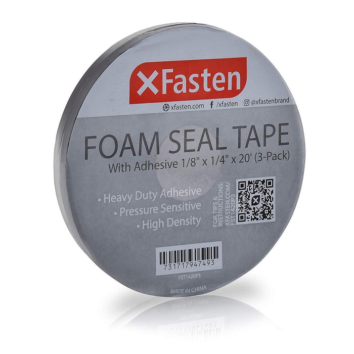 "XFasten Black Foam Seal Tape, 1/8""Thick, 1/4-Inch x 20-Foot (3-Pack)"