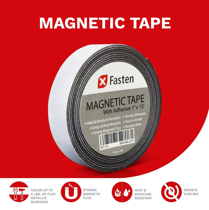 XFasten Flexible Magnetic Tape, 1-Inch x 10-Foot