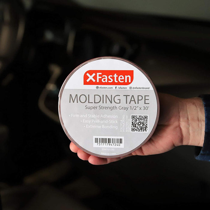 XFasten Molding Tape, Gray, 1/2-Inch x 30-Foot