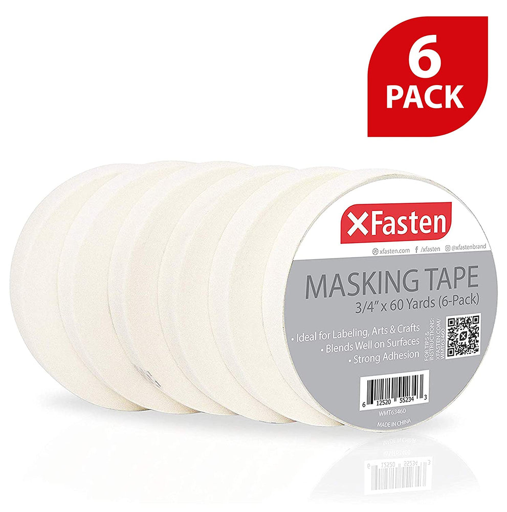 XFasten Professional White Masking Tape, 3/4 Inches x 60 Yards, Pack of 6 - XFasten