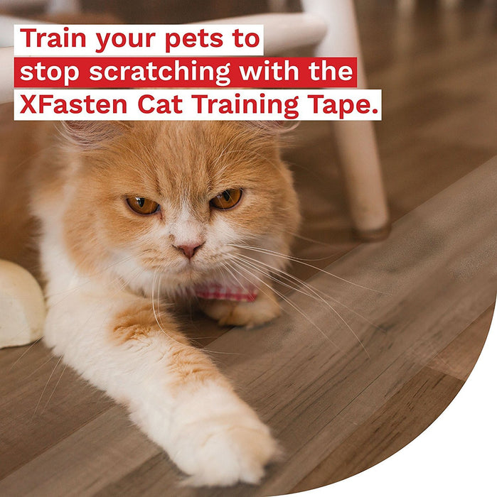 XFasten Title Anti-Scratch Cat Training Tape, Clear, 2.5-Inches x 15 Yards, Large, 2.5-Inches x 15 Yards (3-Pack) - XFasten