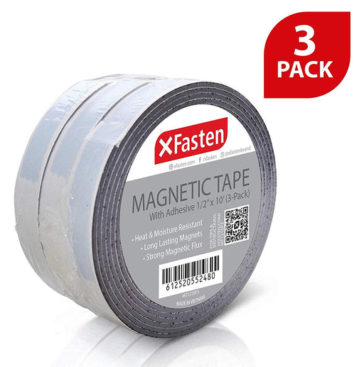 XFasten Magnetic Tape, 1/2-Inch x 10-Foot, Pack of 3 - XFasten
