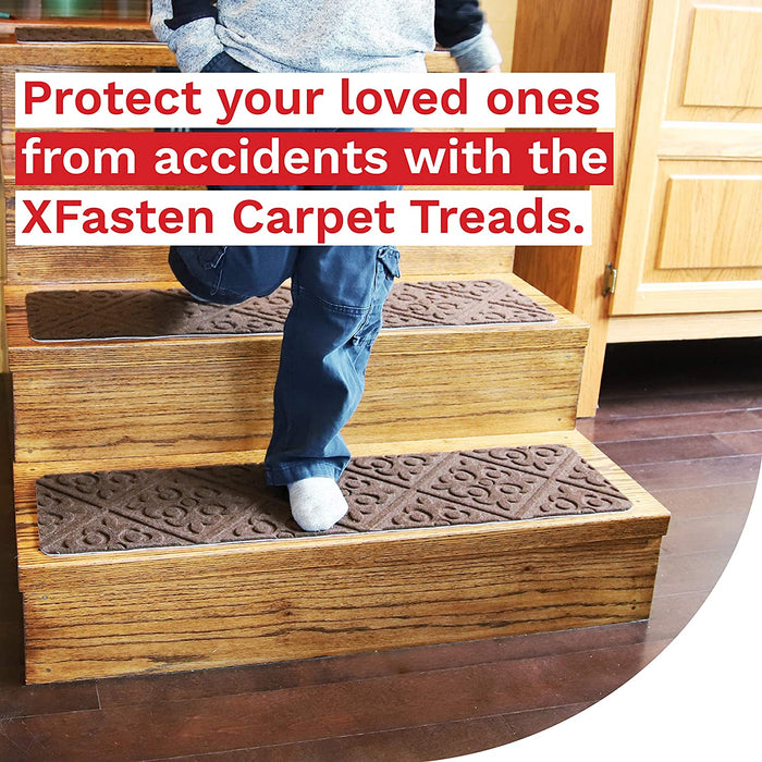 XFasten Carpet Treads Brown, Florence Design- Set of 15 - XFasten