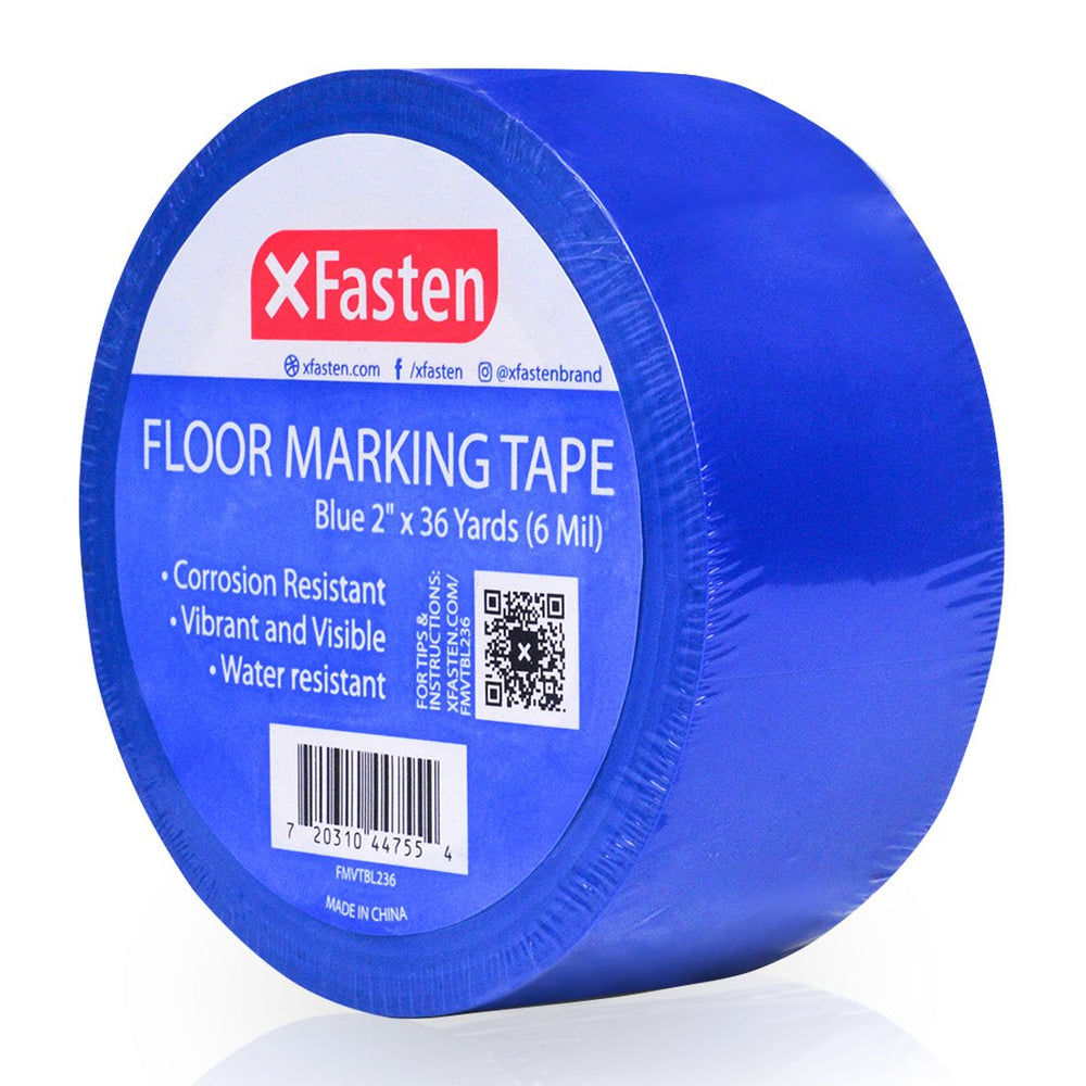 XFasten Floor Marking Vinyl Tape, Blue, 2 Inches x 36 Yards 6 Mils Thick - XFasten