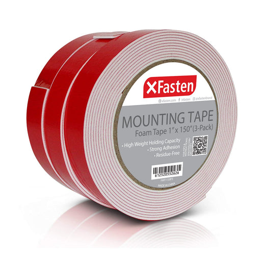 XFasten Double Sided Tape Foam Mounting Tape, 1-Inch x 150-Inch (Pack of 3) - XFasten