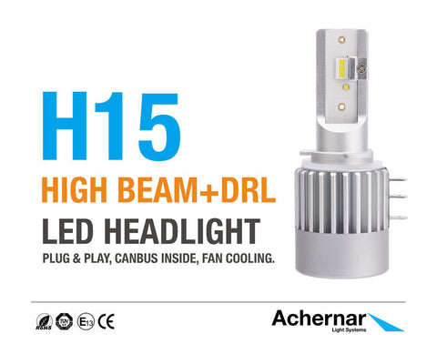 Achernar Light Systems H15 Led 6000k 60watt 5000 Lumen DRL+FJERN +300% 2019Mod - 2stk