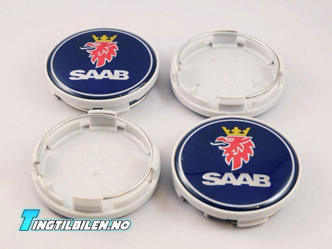 4stk Saab 62.5mm felg-emblemer for orginalfelger - tingtilbilen.no