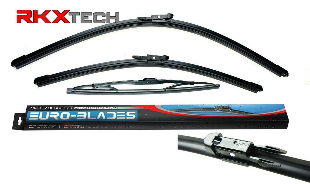 RKX  Front + Rear Windshield Wiper Blades Set of 3 for Audi A3 24 19 13 8P