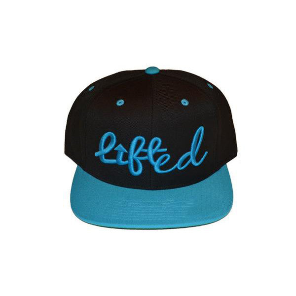 Black and Teal Lifted Snapback