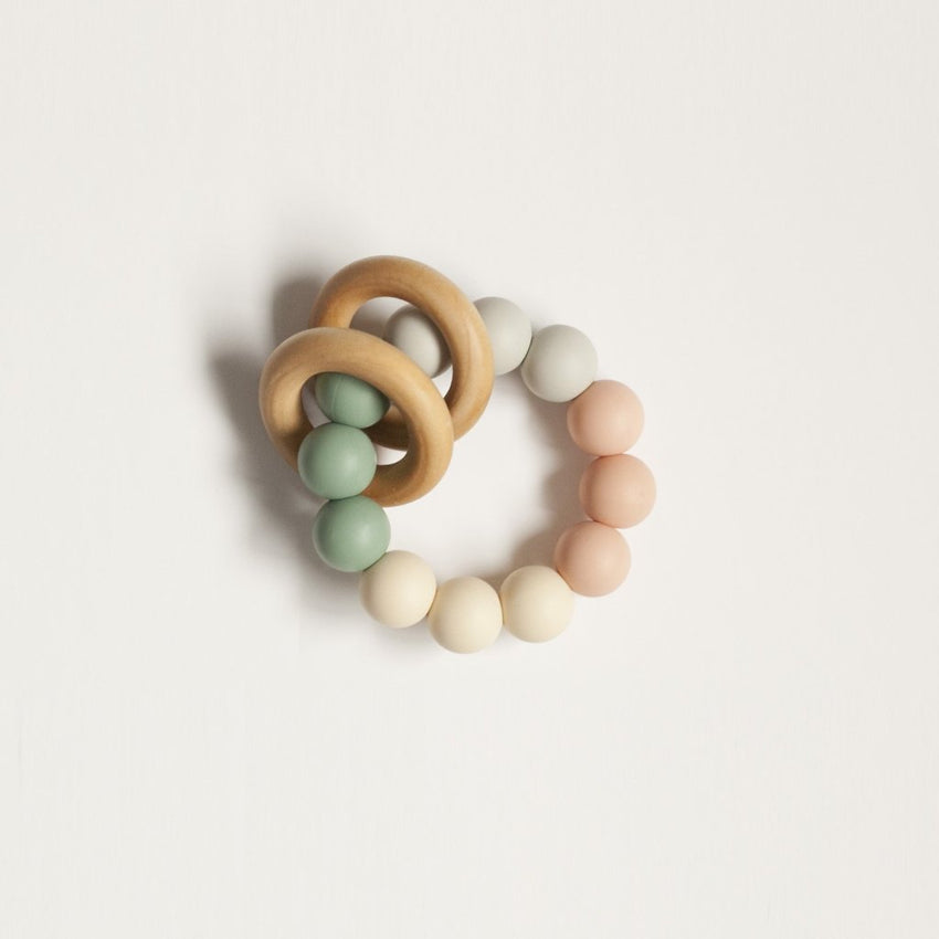 The Charlie - Teething Ring // Sea Glass + Blush