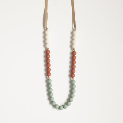The Evie - Teething Necklace // Sea Glass + Ginger