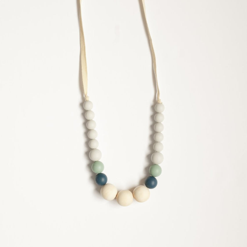 The Emma - Teething Necklace // Midnight + Sea Glass