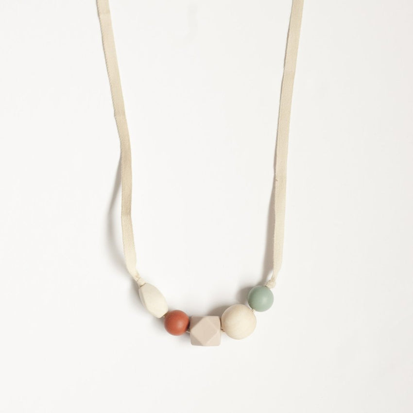 The Millie - Teething Necklace // Sea Glass + Ginger